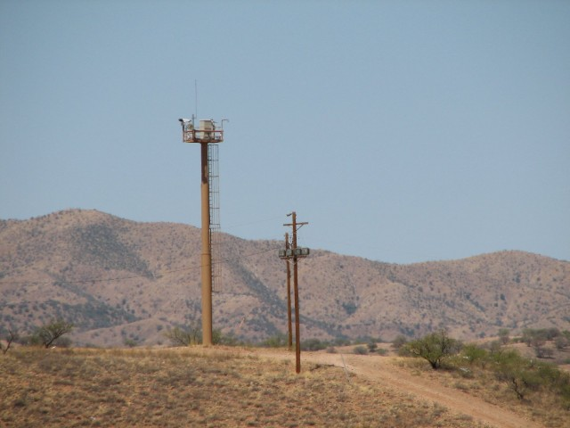 Border surveillance tower on the U.S.-Mexico border near Nogales, Ariz.