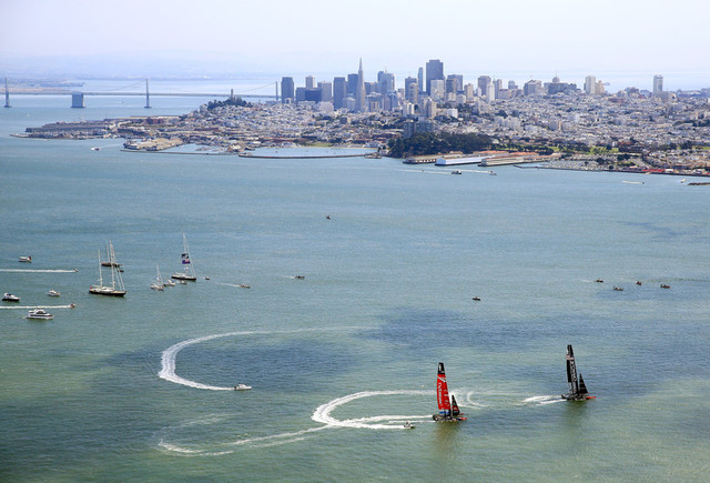 Emirates Team Zew Zealand and Oracle Team USA during America's Regatta in September. (Jamie Squire/Getty Images)
