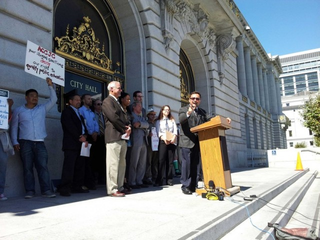 State and local teachers' unions said they will file a suit against the accrediting agency that is threatening to shut down CCSF next summer. (Alex Emslie/KQED)