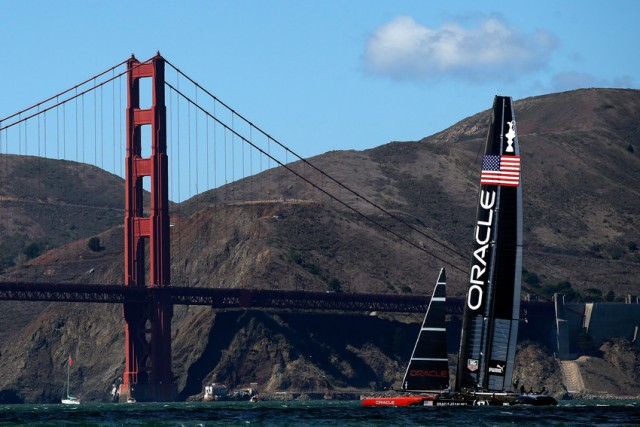 Oracle Team USA during warm ups before the start of the final race of the America's Cup on September 25. (Ezra Shaw/Getty Images)