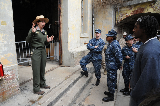 The National Park Service wouild shut down Alcatraz tours Following the completion of cleanup efforts at Alcatraz Island as part of a community relations project during San Francisco Fleet Week (SFFW), Sailors assigned to the amphibious assault ship USS Makin Island (LHD 8) are taken on a guided tour of Alcatraz by Wendy Solis, a park ranger with the U.S. National Park Service. SFFW 2012 is scheduled from Oct. 3-8 and brings more than 2,500 Sailors, Marines and Coast Guardsmen from four ships to the city of San Francisco in order to highlight the personnel, technology and capabilities of the sea services. (U.S. Navy photo by Mass Communication Specialist 1st Class Andrew D. Wiskow/Released)