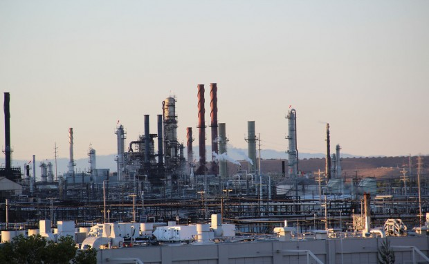 A section of Chevron's Richmond oil refinery, site of a two-alarm fire Wednesday morning. Deborah Svoboda/KQED)