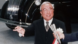 Toyota President and Chairman Eiji Toyota at the opening of the Toyota company museum in 1989. (Getty Images/AFP)