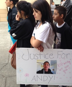 Marchers at the rally protesting the shooting of 13-year-old Andy Lopez today in Santa Rosa. (Rachel Dornhelm / KQED)