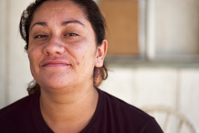 Jessica Ortiz often worries about what to feed her family. (Scott Anger/KQED)