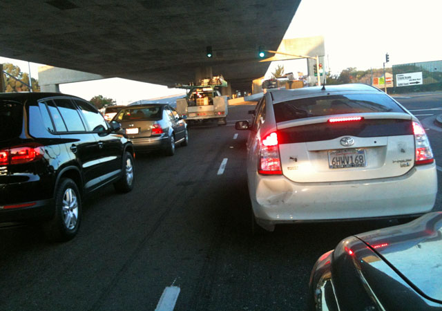 Traffic headed to the Bay Bridge in Oakland. (KQED)