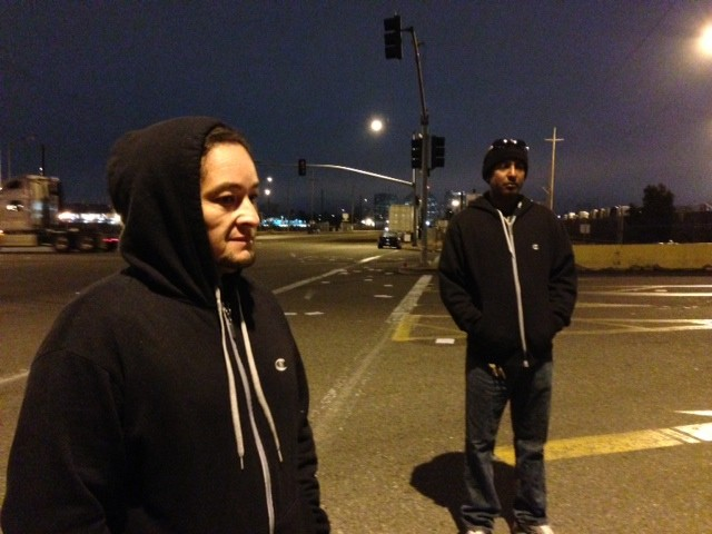 Herbert Olivares (left) and Mohammed Sam are among a group of independent truckers who tried to shut down the Port Of Oaklandon Monday  over low pay and long waits. (Cy Musiker/KQED News).