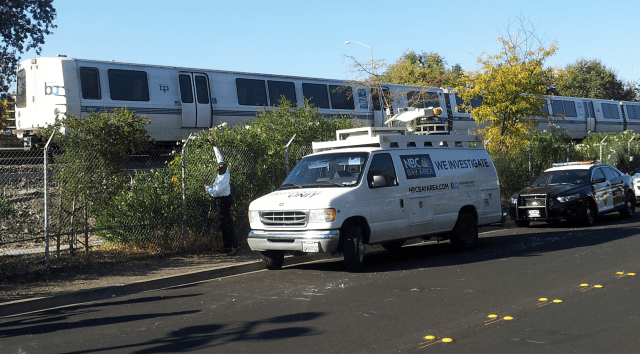 The BART train involved in an October that killed two workers inspecting the tracks. (Alex Emslie/KQED).