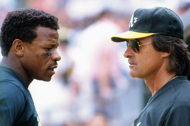Former Oakland A's Manager Tony La Russa, right, with outfielder Rickey Henderson in 1994.