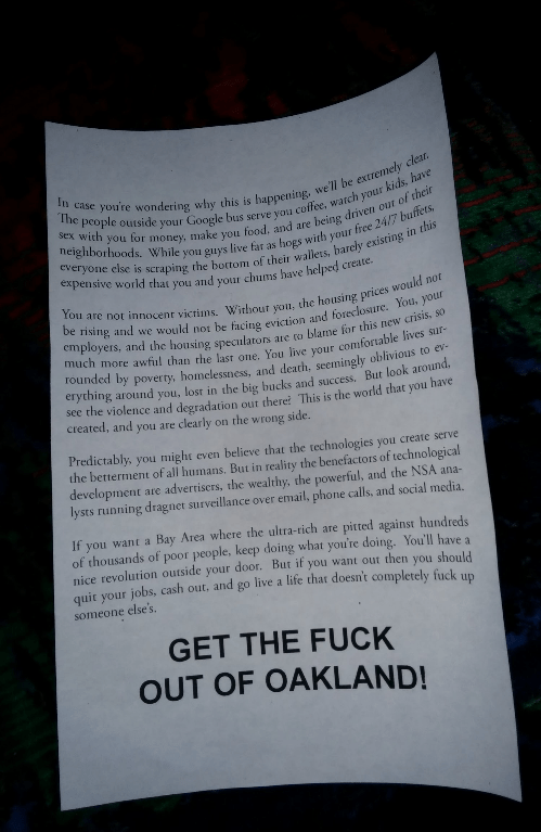 Flyer distributed by Google bus protesters in West Oakland, as posted to Twitter.