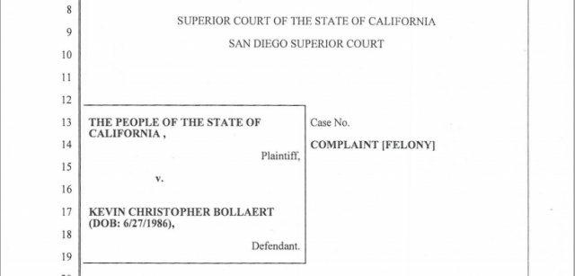 Title page from state's criminal complaint against Kevin Bollaert, convicted Monday of extortion and identity theft as operator of revenge porn site.