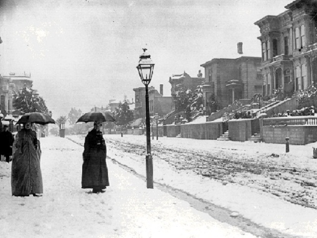 Feb. 5, 1887: Snow on Shotwell Street in San Francisco's Mission District (San Francisco Chronicle, via FoundSF).