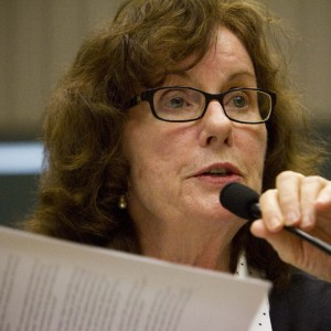 California Advocates for Nusing Home Reform Executive Director Pat McGinnis speaks a the Joint Oversight Hearing of the Assembly Committee on Aging & Long-Term Care and Assembly Committee on Health held at the State Captiol on Tuesday, January 21, 2014. (Randy Allen/The Center for Investigative Reporting)