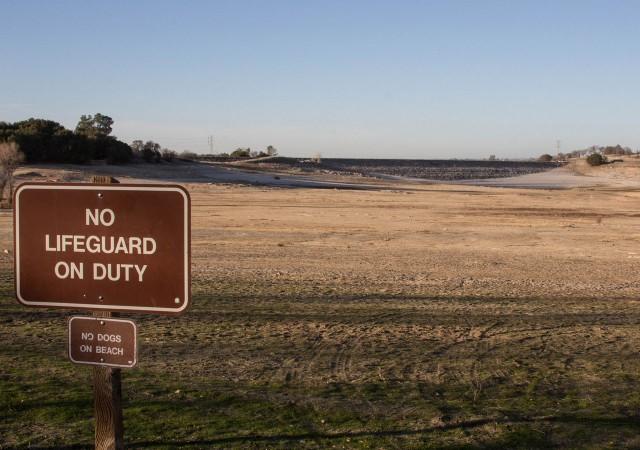 Folsom Lake, east of Sacramento, pictured in January as it reached its winter low. (Dan Brekke/KQED)