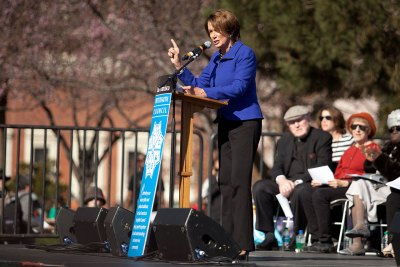 "House Minority Leader Nancy Pelosi briefly addressed the crowd at Yerba Buena Gardens. She marveled that Martin Luther King Jr. has a day that is a national holiday, and urged people to continue the fight for equality. ""Only presidents have days that are national holidays,"" she said."