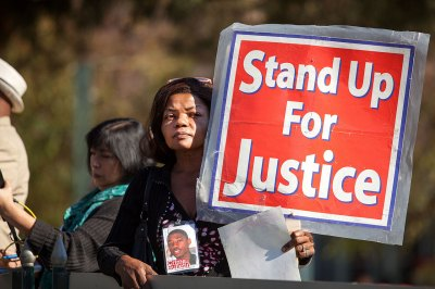 San Francisco resident Paulette Brown, whose son was killed in 2006, said that Martin Luther King Jr. represents justice and equality to her. (Photo by Mark Andrew Boyer / KQED)