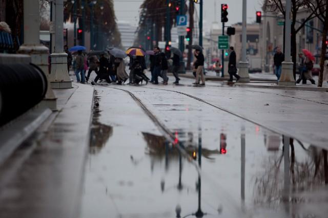 Rain falls on San Francisco's Embarcadero. (Mark Andrew Boyer/KQED)