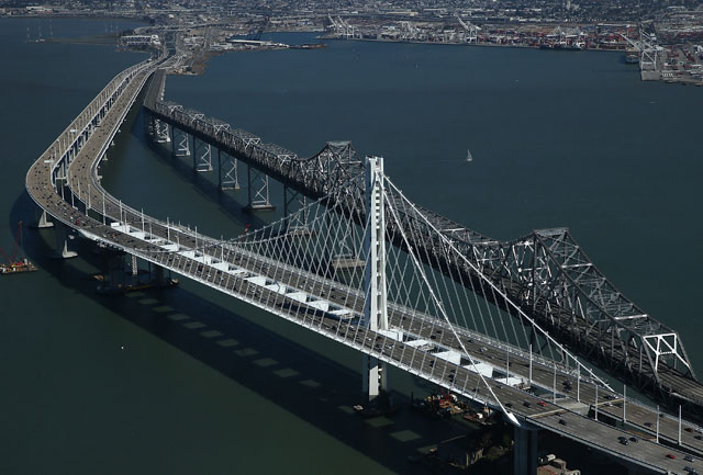 The new eastern span of the Bay Bridge shortly after it opened last September. (Justin Sullivan/Getty Images)