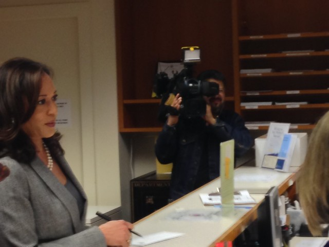 California Attorney General Kamala Harris files for re-election at San Francisco City Hall on Wednesday (Jack Detsch/KQED)