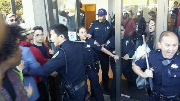 Police and students were involved in a dispute at CCSF following a rally about accreditation issues. Photo: Alex Emslie/KQED