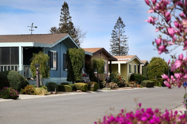 """Winchester Ranch is no trailer park, said Phyllis Tripp. """"They're very different. If you went from one to the other, they would look completely different inside."""" (Mark Andrew Boyer/KQED)"""