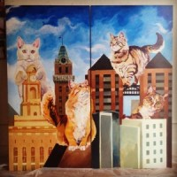 Cats take over Oakland in a mural by Megan Kott and Justin Devine.  (Adam Myatt/Cat Town Cafe)