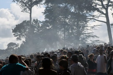 "About 15,000 people came to smoke weed and celebrate ""420"" in Golden Gate Park in 2013. (Justin Sullivan/Getty Images)"