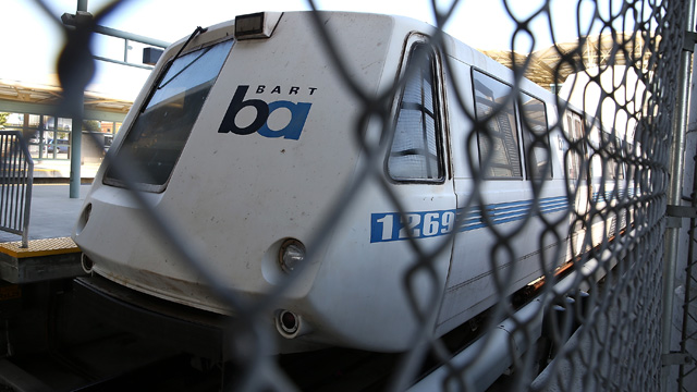 A BART train sits idle at the Millbrae station during a BART strike on July 3, 2013.