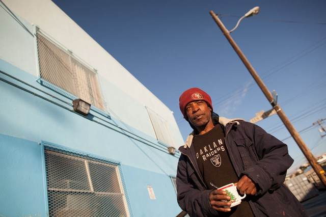 Longtime Bayview resident Larry Williams supports opening a new homeless shelter (Mark Andrew Boyer / KQED)