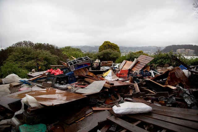 Debris from a former Albany Bulb campsite. (Mark Andrew Boyer/KQED)