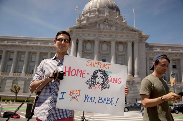 Frank Fahy shows his support for Cher and home-sharing (Mark Andrew Boyer/KQED)