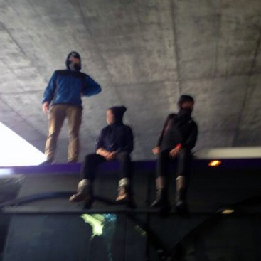 Protesters on top of a Yahoo bus Wednesday. (Defend the Bay)