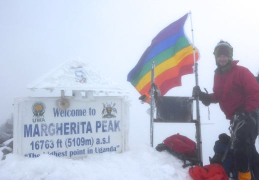 Neal Gottlieb climbed the tallest mountain in Uganda and planted a rainbow flag in discrimination of newly established anti-gay laws.