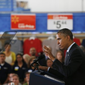 President Obama speaks about energy programs at Mountain View Wal-Mart store on Friday. (Stephen Lam/Getty Images)