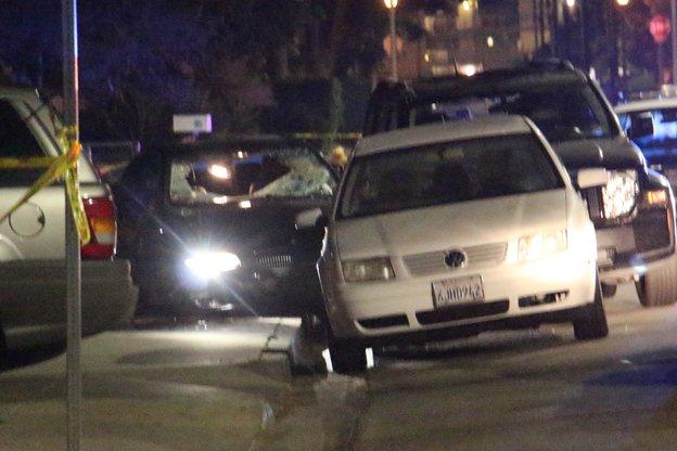 The car police say was driven by a suspect who killed 6 people near the UC Santa Barbara campus. (John Palminteri /KEYT/KCLU