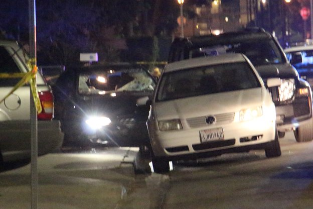 The car police say was driven by a suspect who killed 6 people near the UC Santa Barbara campus. (John Palminteri /KEYT/KCLU
