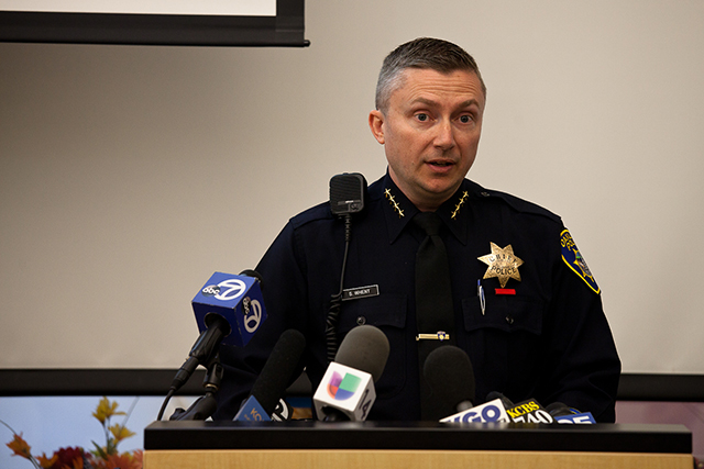 Oakland Police Chief Sean Whent speaking to the media and the community last June about his department's crime-reduction efforts. (Deborah Svoboda/KQED