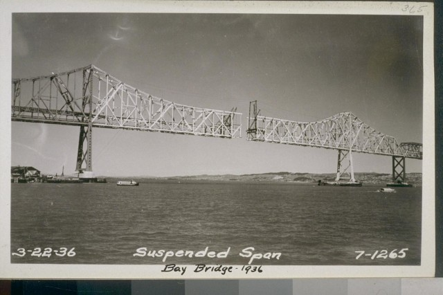 A view of the suspended span of the Bay Bridge, dated March 22, 1936. (Courtesy: The Bancroft Library, UC Berkeley)