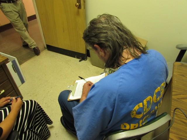 California prisoner Richard Kamka gets help applying for Medi-Cal before he is paroled. (Julie Small/KQED)