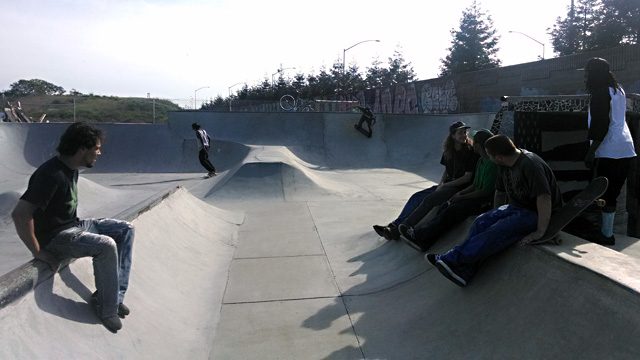 Skaters at West Oakland's unsanctioned Lower Bobs skatepark. (Andrew Stelzer/KQED)