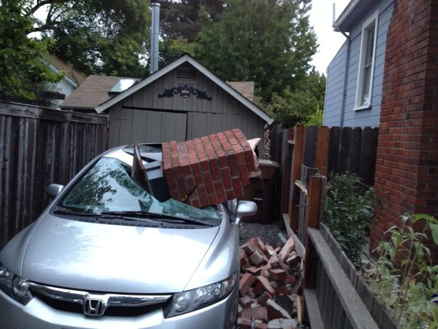 A KQED fan shared this image on Facebook of her chimney on her neighbor's car in Old Town Napa. (Courtesy of Patty Koski)