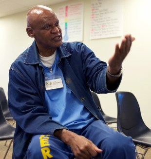 Inmate James Ward trained to be a drug and alcohol counselor at Solano Prison, as well as a mentor for other inmates. (Monica Lam/KQED)