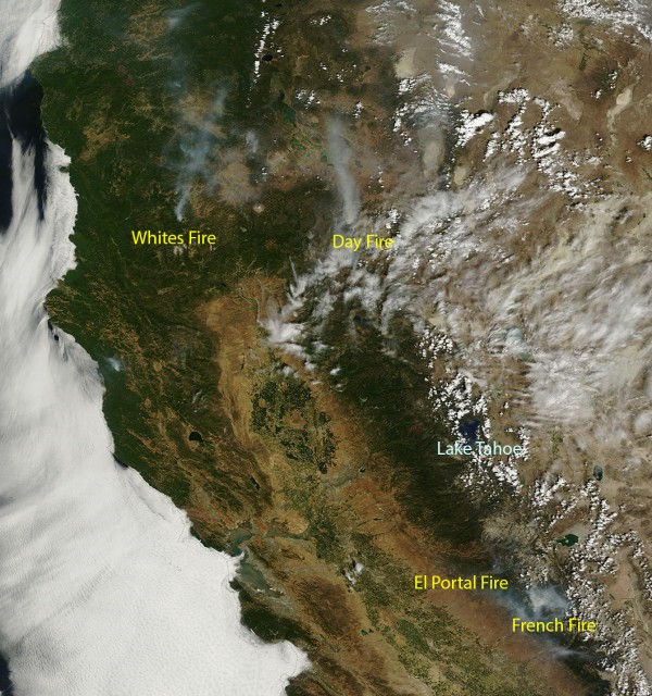 Aug. 1, 2014, image of California from NASA's Terra Earth Observing System satellite. (NASA Worldview image)
