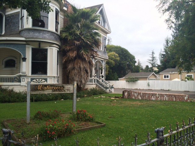 The South Napa earthquake brought down chimney at the Migliavacca Mansion, one of downtown's Napa's historic homes. (Mina Kim/KQED)