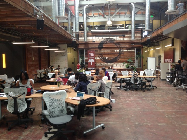 Impact Hub Oakland, a new downtown tech-centric co-working and event space. (Sam Harnett/KQED)