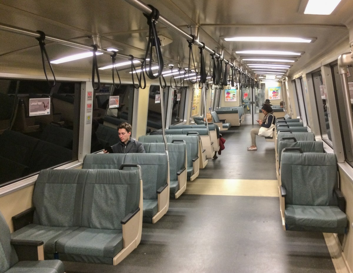 BART Tries Removing Some Seats to Ease Crowding on Trains