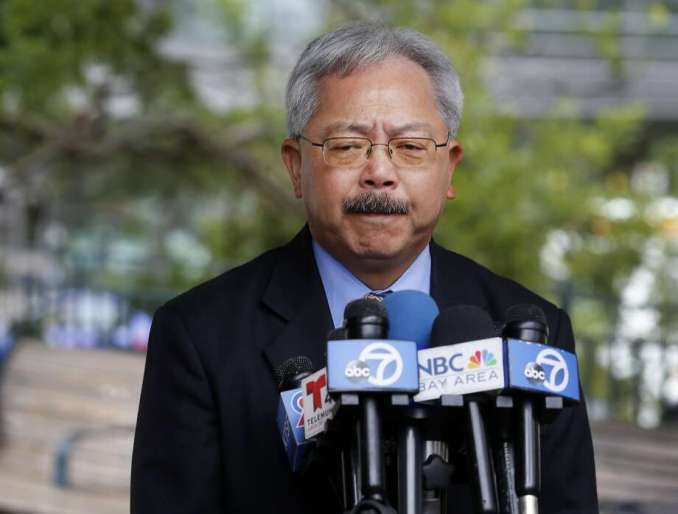 Mayor Lee gave a statement about his efforts to avoid another incident like the one that killed Katheryn Steinle at a press conference at Portsmouth Square Wednesday July 8, 2015. San Francisco Mayor Ed Lee spoke about the sanctuary program which allowed Juan Francisco Lopez-Sanchez to be free on the streets where he allegedly killed Katheryn Steinle recently. Photo: Brant Ward, The Chronicle