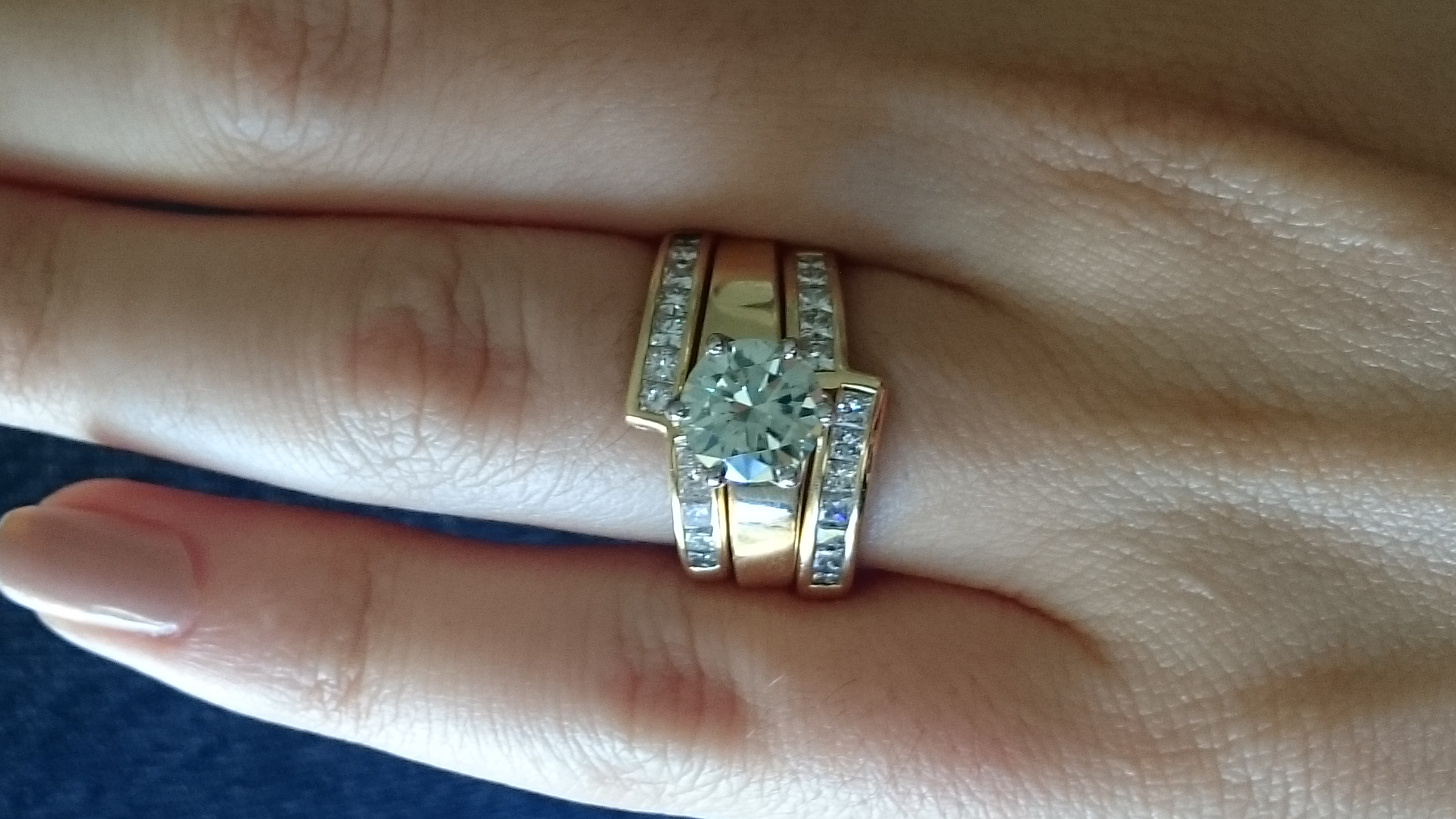 ebay moissanite set into custom made ring ebay wedding ring sets I loooove the ring but set the moissanite looks a bit green which is a bit disappointing It s 7 3mm on 5 5 finger What do you ladies think