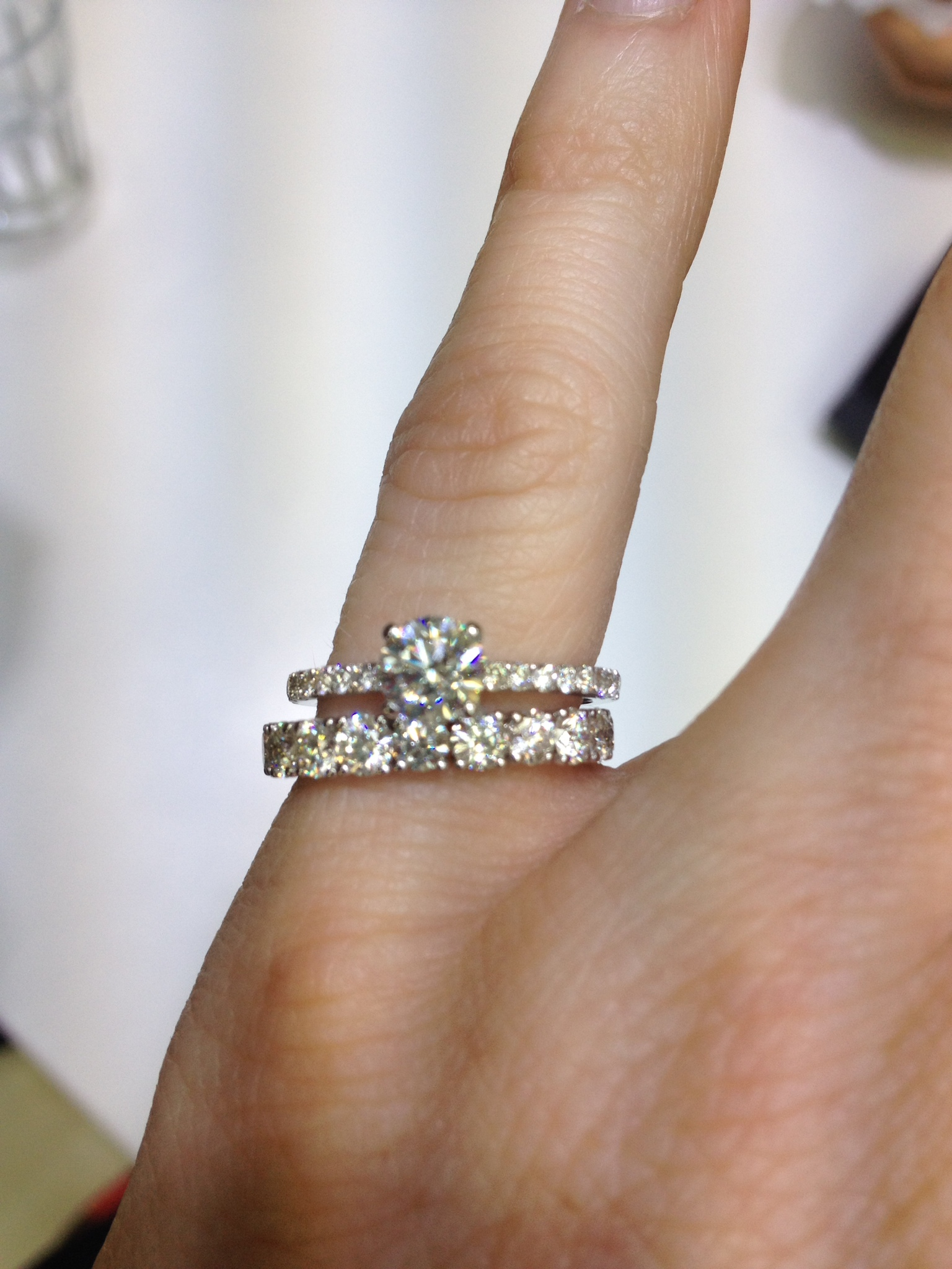 cant decide on wedding band show me thin pave erings with eternity wedding band eternity wedding bands Cant decide on wedding band Show me thin pave erings with eternity wedding band