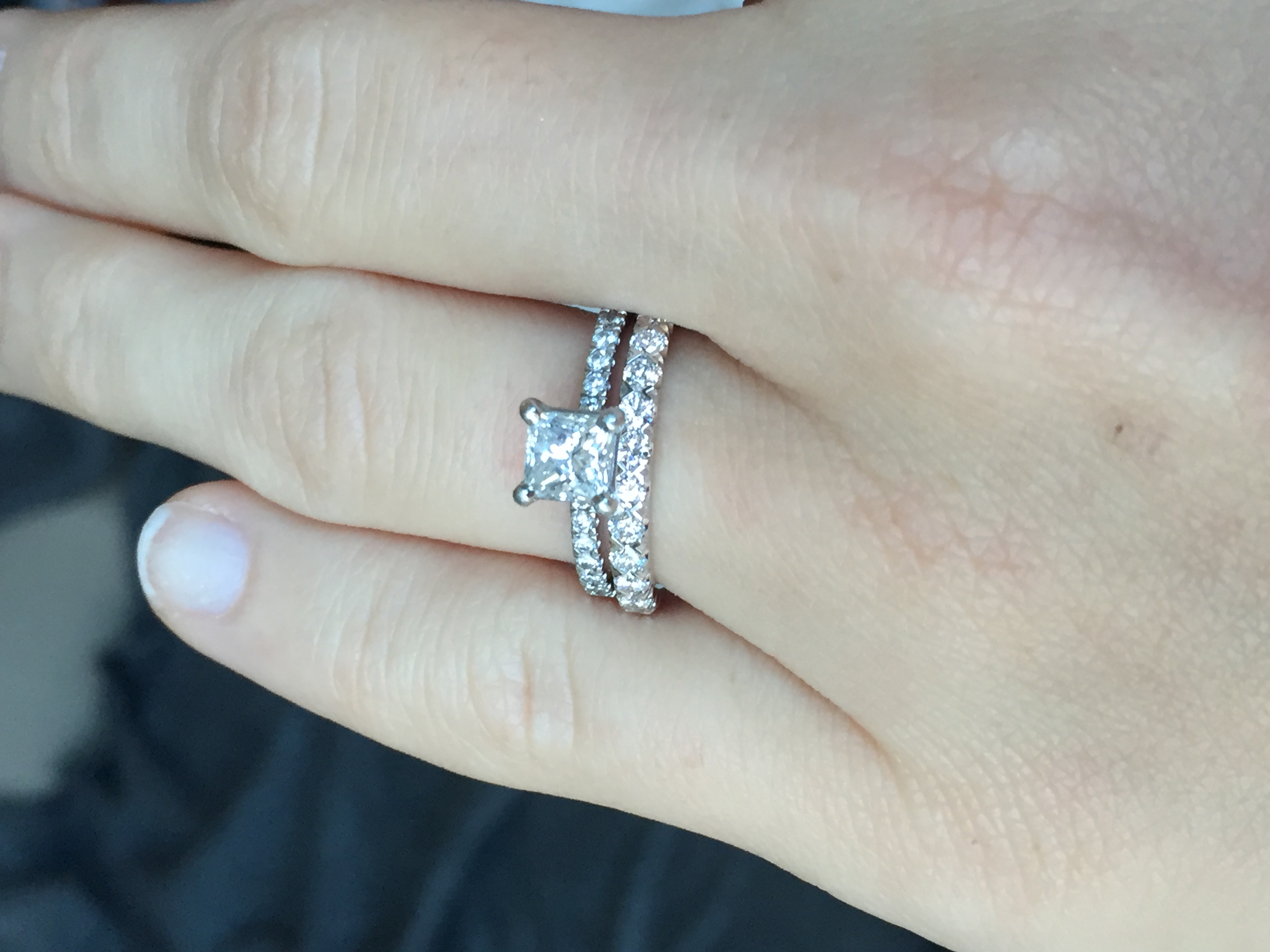 would you do a spacer ring with this combo wedding ring spacer We got an amazing Black Friday deal in this Blue Nile wedding band It was 50 off so we got the higher carat size but I m just worried because it hits a